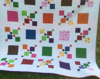 "Impromptu Queen Quilt, Reversible, Colorful, 92"" x 92"""