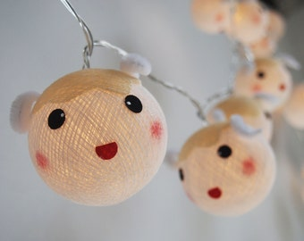Cutie Sheep cotton ball string lights for Kids party, Paty,Wedding, Christmas Lights, Party Lights, Fairy Light and Decoration, fairy lights