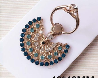 1pc cute rhinestones/gems peacock alloy ring holder charms 40x40mm flatback mix colors