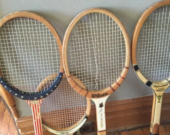 SALE Vintage Tennis Racquetball Rackets 4 Man Cave Decor Interior Game Rm Decor Great WOOD Racquet Wilson Centennial Amcrest Sportcraft