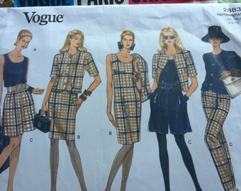 Vogue Very Easy Misses Jacket Dress Top Shorts and Pants Pattern 2883 Size 6 8 10 Vogue 90s style Circa Vintage Vogue Skirt Blouse Jacket