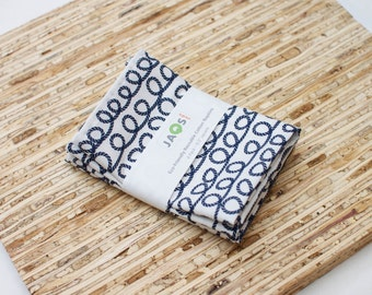 Small Cloth Napkins - Set of 4 - (N3333s) - Ropes Nautical Navy Blue Modern Reusable Fabric Napkins