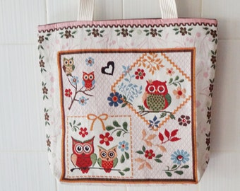 Large Canvas Tote Bag - Owl Design Grocery Bag - Canvas Tote Shopping handbag - Owl Market Bag with Cotton Handles