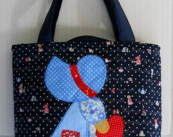 Patchwork Bag,Small handbag,Cosmetic bag, Short handle quilted bag,Top handle bag, Teen handbag,Fabric Applique handbag