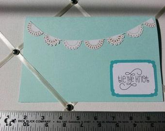 Handmade teal wedding card with garland detail