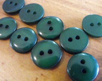 12 Forest Green Glossy Round Buttons Size 1/2