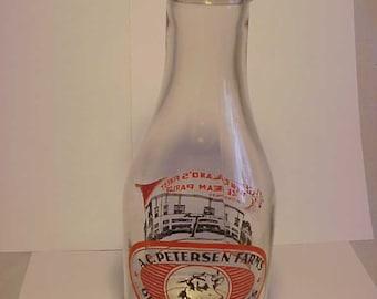 1946 A. C. Petersen Farms Bloomfield, Conn., West Hartford, Conn. , Two Picture Two Color TRPQ Milk Bottle, Quart Round Milk Bottle