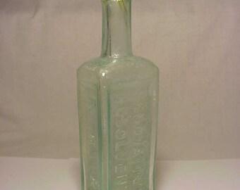 c1860s R. R. R. Radway's Renovating Resolvent , Aqua Blown Glass Civil War Period Medicine bottle No. 2