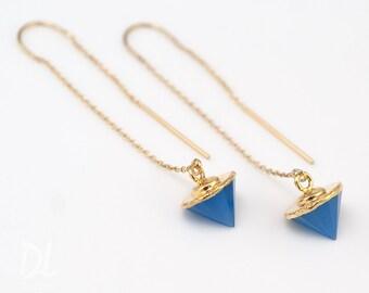 Gold Ear Thread Earrings - Blue Chalcedony Earrings - Spike Earrings - Ear Threader Earrings - Minimal Jewelry - Long Gold Dangle Earring