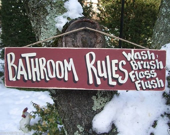 BATHROOM RULES - Country Rustic Primitive Shabby Chic Wood Handmade Sign Plaque