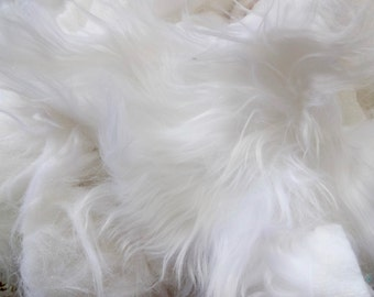 White Faux Fur Scraps - EcoFriendly - Vegan - DIY - Craft Supplies - Recyclable - Project - Costume - Animal Fur