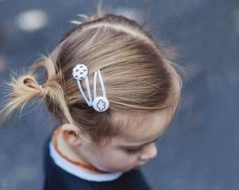 Toddler Hair Clips - Girls Hair Clips - Cloud Hair Accessory - Fabric Button Hair Clips