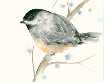 Original Watercolor Painting Chicadee