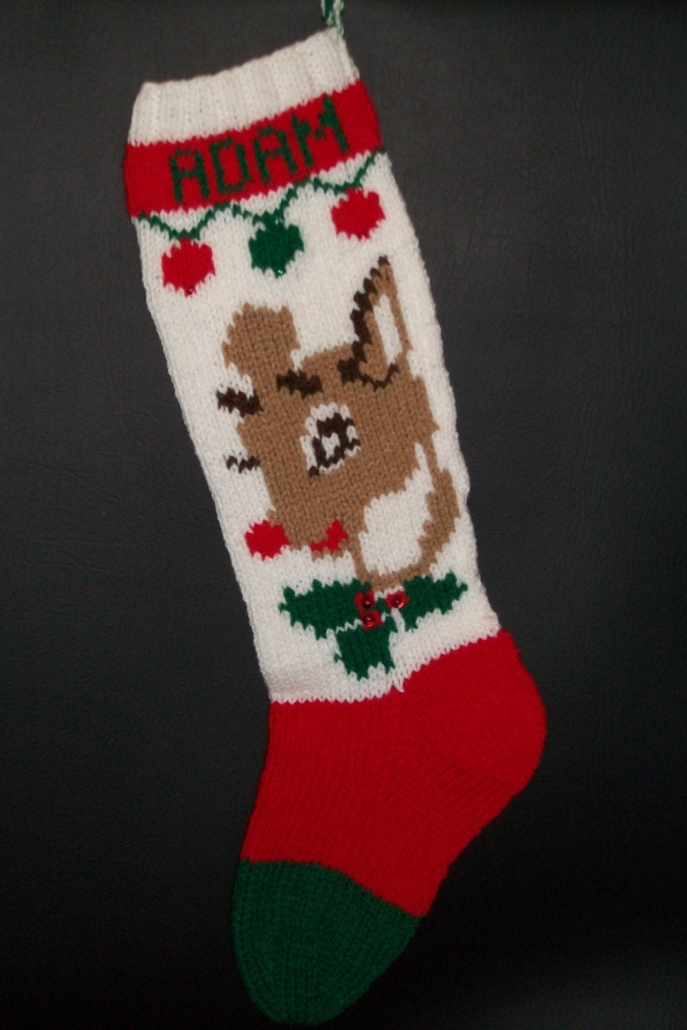 Hand Knit Christmas Stocking Patterns : Christmas Stocking Hand Knitted Custom Order by ...