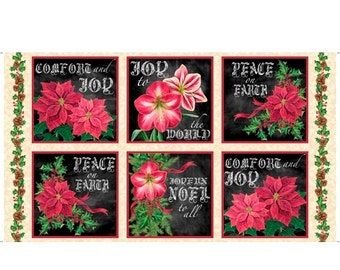 Christmas Joy To The World Poinsettia & Amaryllis on Black 24in x 44in panel by Lisa Conlin premium cotton fabric for Quilting Treasures BTY