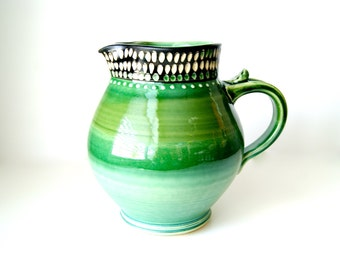 Ceramic Pitcher in Green and Black, Handmade Wheel Thrown Pottery by RiverStone Pottery