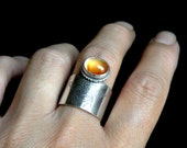 RESERVED - Sterling and Carnelian Ring - Bee Totem