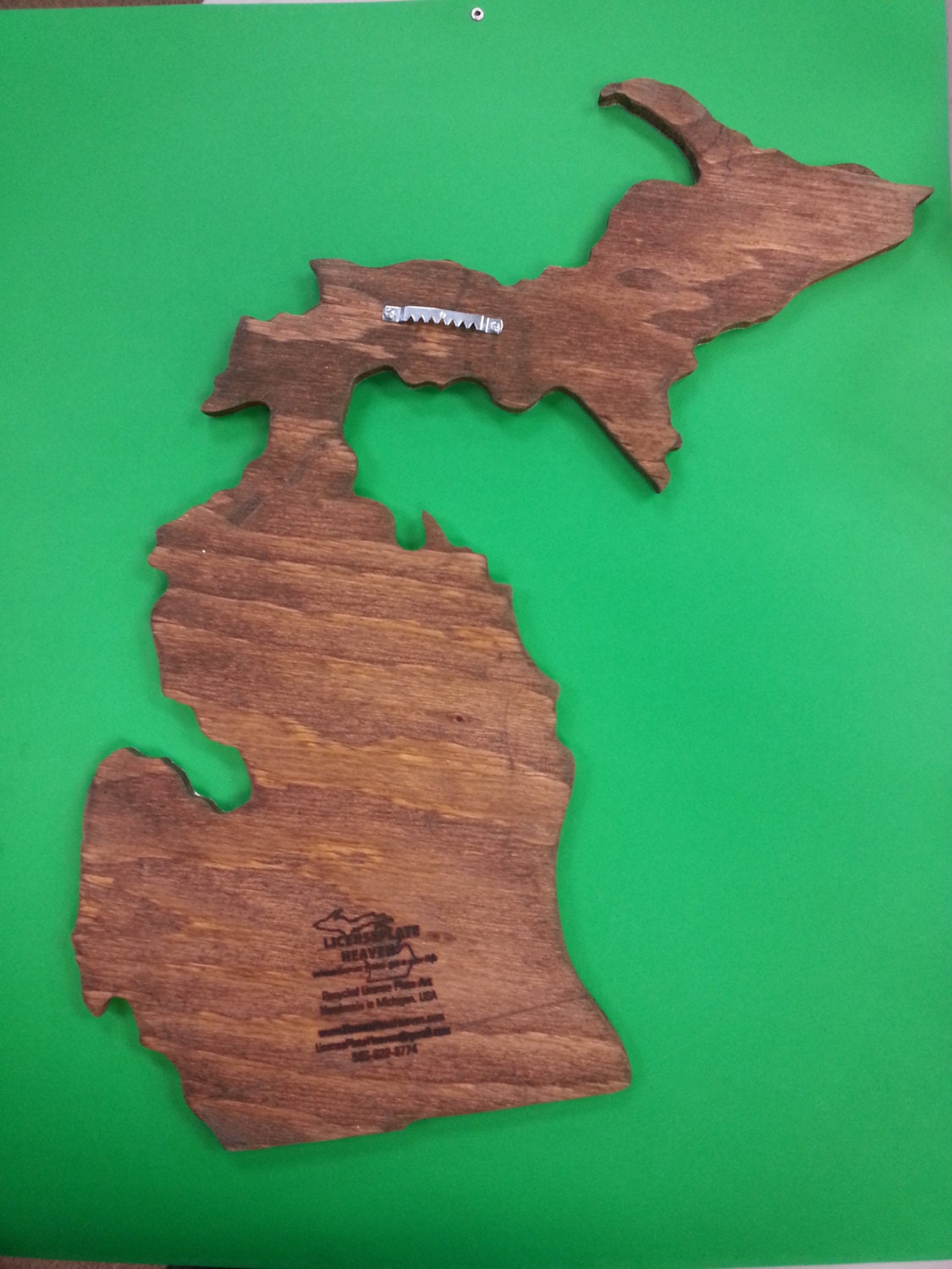 State Of Michigan Map Handcrafted Recycled License Plates Unique - Us map made out of license plates