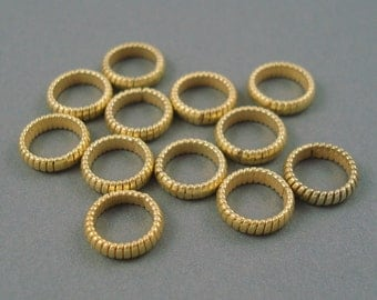 8MM Gold Fill Large Hole Spacer, 12 Pieces