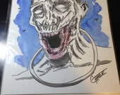Original Ink Drawing The Walking Dead - ZOMBIE Michonne's Pet mixed media ink / watercolor