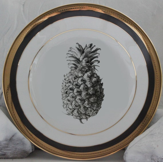 Black u0026 Gold Pineapple Plates Foodsafe Durable Pineapple Dishes Pineapple China : regency dinnerware - pezcame.com