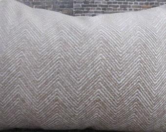 Designer Pillow Cover Lumbar - Herringbone Zig Zag Chenille Tan and Ivory