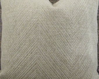 3BM Designer Pillow Cover Lumbar, 16 x 16, 18 x 18, 20 x 20, 22 x 22 - Tonal Herringbone  Oatmeal