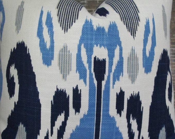 Designer Pillow Cover -  Lumbar, 16 x 16, 18 x 18, 20 x 20 - JR Fazil Ikat Blue