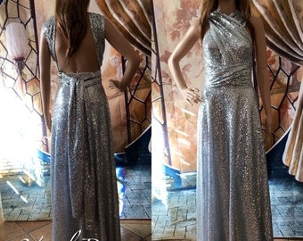 SEQUINS Long Convertible Bridesmaid Dress  One Dress Fifteen Styles  Custom Made Silver Color