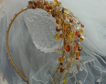 Side Tiara: 50% OFF Golden autumn stems with pearls, leaves and crystals for bridal or prom wear