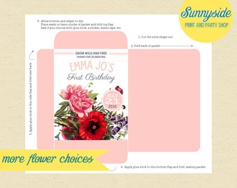 Birthday Seed Packet Favor, First Birthday Party Seeds, Wildflowers, DIY Printable Garden Party Favor, Any flower!