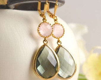 Large Charcoal Teardrop and Soft Pink Dangle Earrings.  Pink and Gray Bridesmaid Dangle Earrings. Drop. Jewelry Gift.  Christmas Gift.