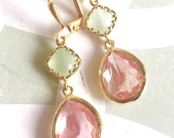 Sweet Coral Pink and Light Mint Drop Earrings in Gold.  Mint and Pink Bridesmaid Dangle Earrings. Jewelry Gift. Wedding. Bridal.