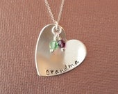 Custom Hand Stamped Sterling Silver with Swarovski Birthstone Crystal Necklace- Grandchildren Necklace, Grandma Mom Mother Jewelry
