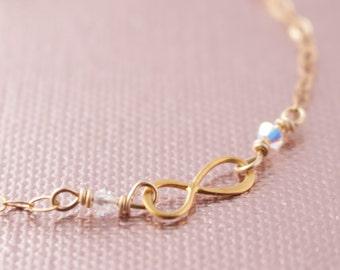 Gold Infinity & Swarovski Crystal Bracelet - Wedding, Bridesmaid, Bridal Party, Bride's Gift, Mother of the Bride BP-301GC