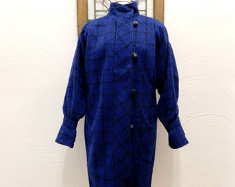 1980s Plaid Coat Vintage 80s Blue & Black Wool Coat - L