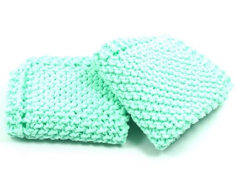 Mint Dishcloths, Two Knitted Wash Cloths, Cotton Cleaning Cloths, Grandma's Favorite Dish Cloth, Dish Rags, Mint Green Dish Cloths, Kitchen