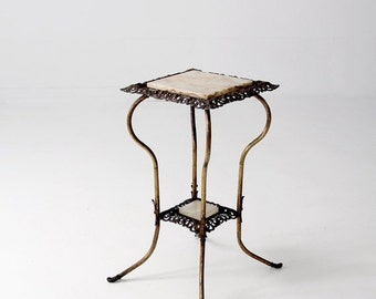 SALE antique brass and marble end table, Victorian stand