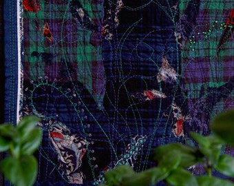 Night in the garden, contemporary Art Quilt, midnight blue, green,  small textile artwork, leaves plants, beaded, dark wall art