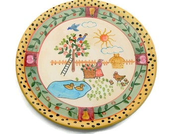 "Colorful Pottery Plate with Country Scene - 10 "" Vintage Ceramic - Wall Art"