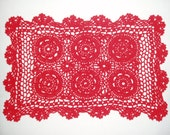 "Red Rectangular Crocheted Doily or Placemat, 10"" x 15.5"""