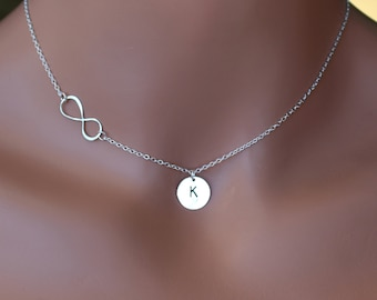 LOVE SALE Infinity and CUSTOM Initial coin necklace is Sterling Silver. Personalized.
