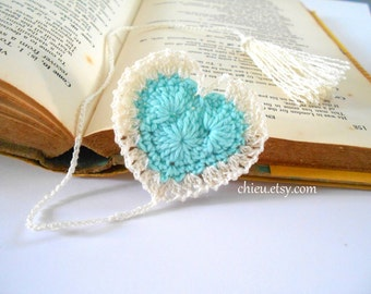 Heart Bookmark crochet cotton yarn 30 cm long AQUA Blue Ivory tassel