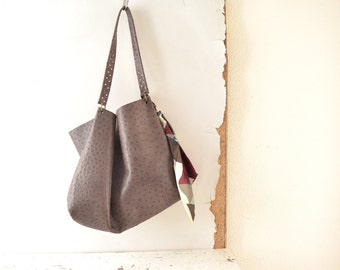 Leather Tote with Silk Tie Detail -  in Ostrich Effect - Dark Brown  Unlined and Simple for Everyday.