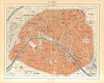 1897 Original Antique Map of Paris and its Surroundings