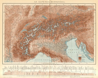 1893 Original Antique Relief Map of the Alps