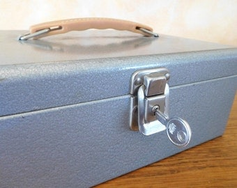 Vintage Metal lock Box with Keys Decor Storage Industrial Vogue Fashion Forward