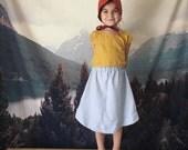 SALE Linen-cotton maxi/midi skirt, toddler girls, retro full skirt 2T-4T light blue