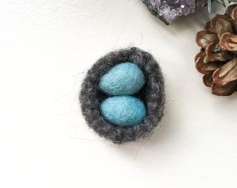 ROBIN NEST + EGGS waldorf wool nest and 2 eggs robins egg blue