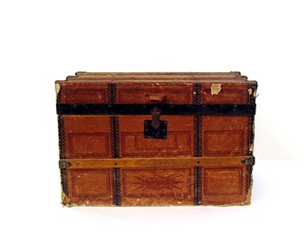 Antique Steamer Trunk Victorian Travel Trunk Paper Lithograph 1800s Wood Slats B & S Co Roadster Vintage Storage